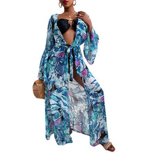 Load image into Gallery viewer, Beach Dress 2021 Bikini Cover Up Print Bathing Suit Women Kimono Plus Size Tunic Sexy Long Sleeve Swimwear Cover-Ups