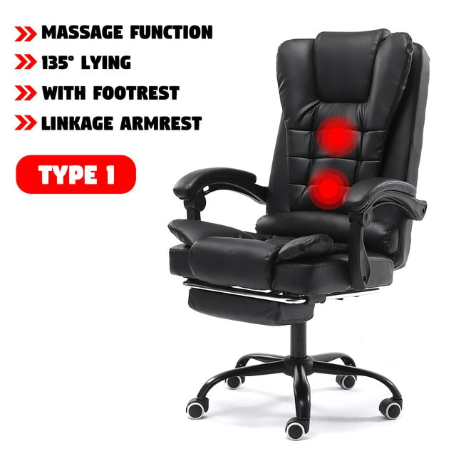 Computer Office Chair Gaming Home Leather Executive Swivel Gamer Chair Lifting Rotatable Armchair Footrest Adjustable Desk Chair