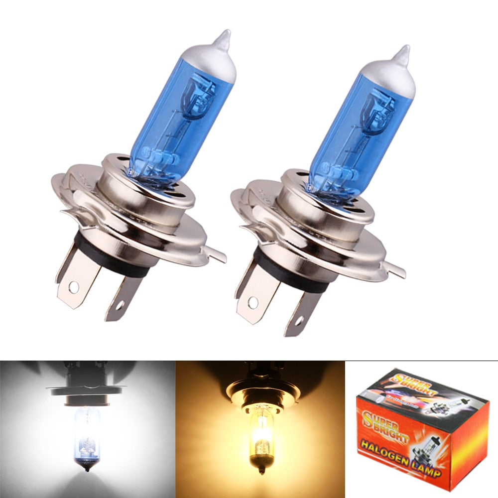 2pcs H4 Super Bright White Fog Halogen Bulb 55W Car Head Lamp Light car styling car light source parking Yellow Amber DRL