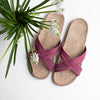 Shangies sandaler med jute bun di farven dusty purple