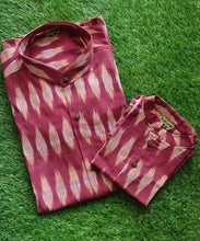 Load image into Gallery viewer, Klingaru Twinning Shirt - Maroon Ikat