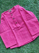 Load image into Gallery viewer, Klingaru Full Sleeves Short Kurta - Pink Self with round neck