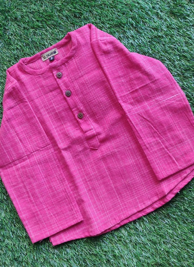 Klingaru Full Sleeves Short Kurta - Pink Self with round neck