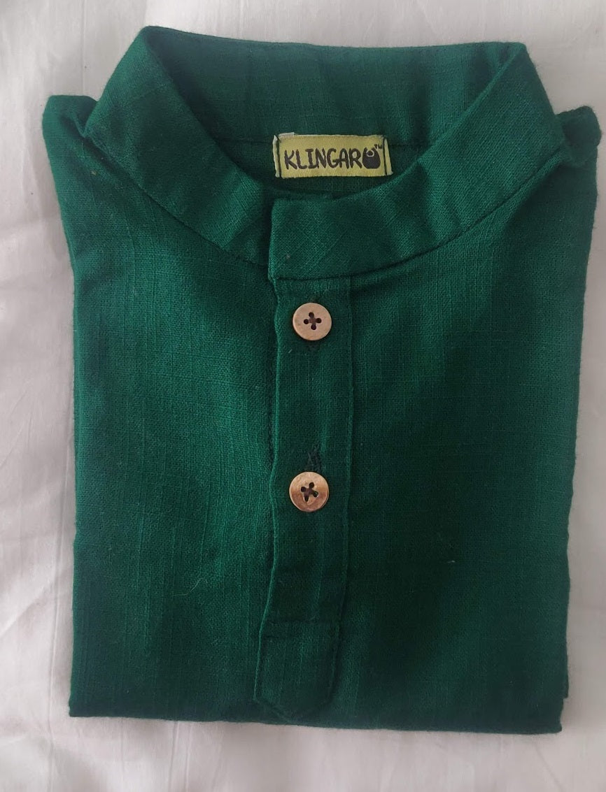 Klingaru Long Kurta - Dark Green Solid
