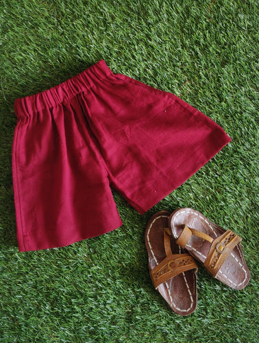 Solid Maroon Kids Shorts