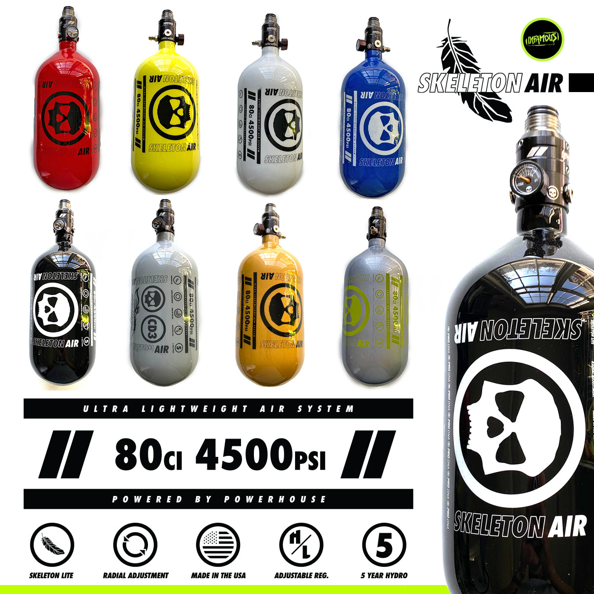 "SKELETON AIR ""HYPERLIGHT"" TANK W/ HAYMAKER 500 REGULATOR"