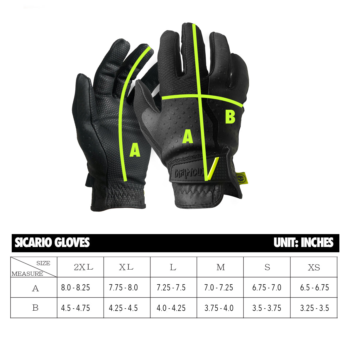 Infamous Sicario Gloves Sizing Chart