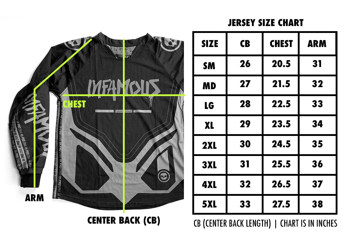 Infamous Custom Jersey Sizing Chart