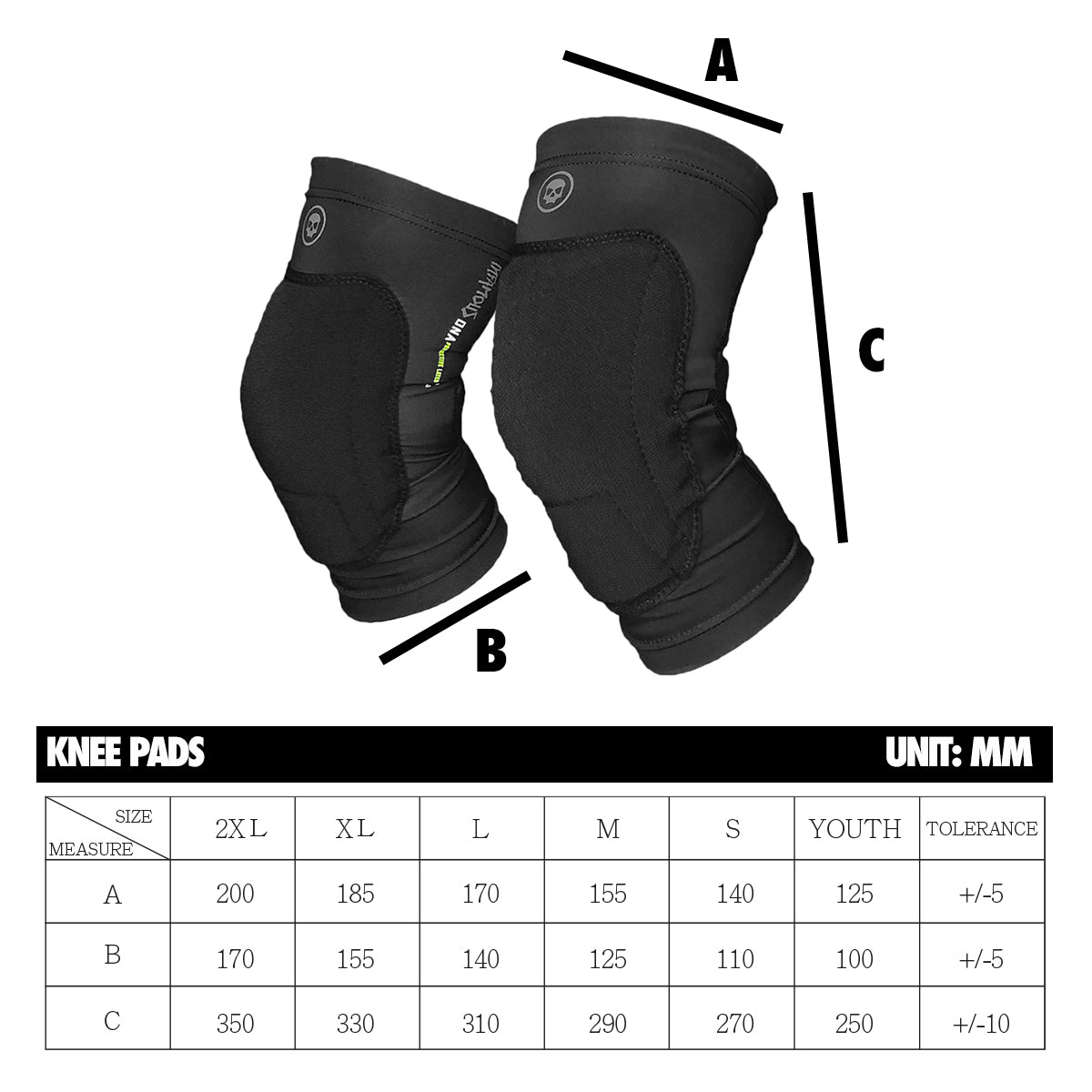 Infamous Pro DNA Knee Pad Sizing Chart