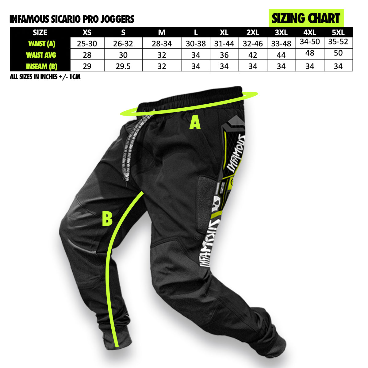 Infamous Sicario Pro Joggers Sizing Chart