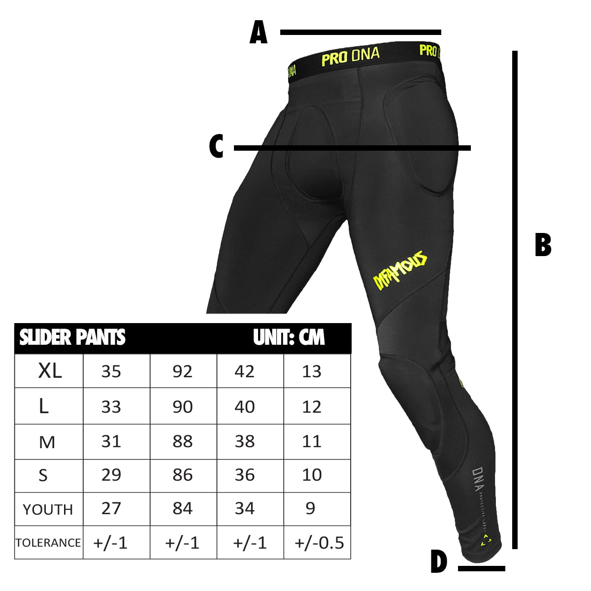 Infamous Pro DNA Slider Pants Sizing Chart