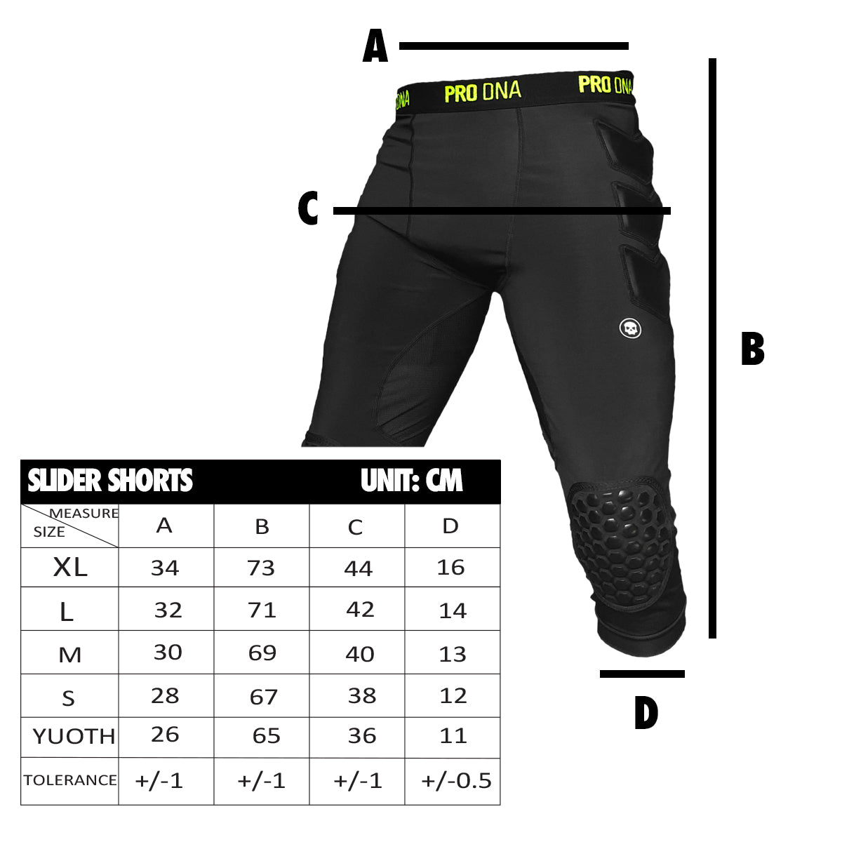 Infamous PRO DNA Slider Shorts Sizing Chart