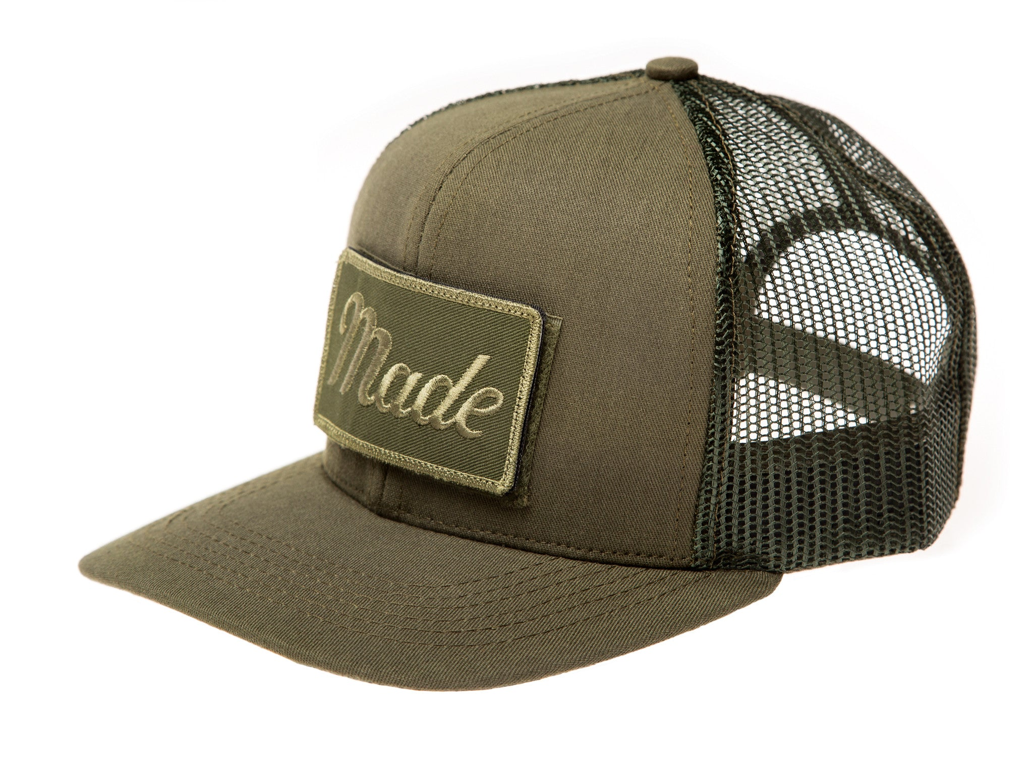 Army Green Trucker Hat (with Velcro patch) – Made Movement 05e2204dc42