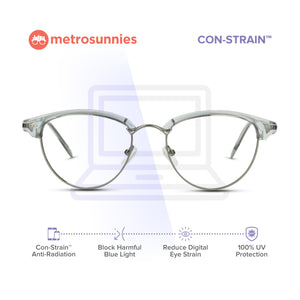 MetroSunnies Duchess Specs (Gray) / Con-Strain Blue Light / Anti-Radiation Computer Eyeglasses