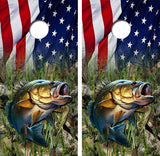 Bass Fish American Flag Cornhole Wood Board Skin Wrap