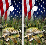 Walleye Fish American Flag Cornhole Wood Board Skin Wrap