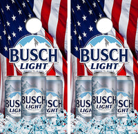 Busch Light American Flag Cornhole Wood Board Skin Wrap