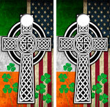 Celdic Irish American Flag Cornhole Wood Board Skin Wrap
