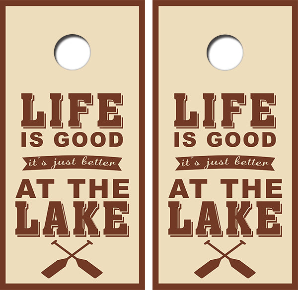 Life is Good at The Lake Cornhole Wood Board Skin Wrap