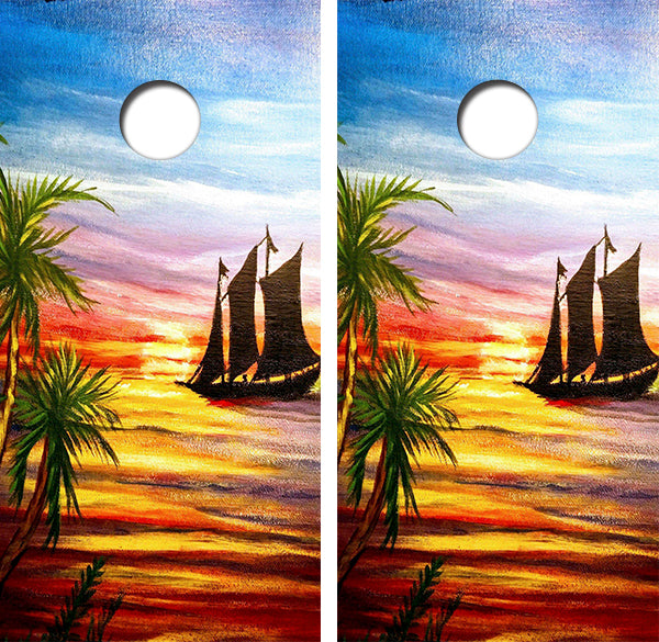 Sunset Painting Cornhole Wood Board Skin Wrap