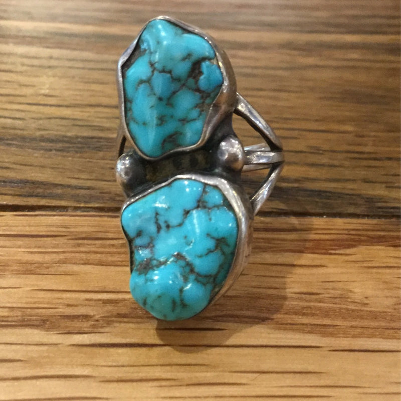 Ring Vintage Double Turquoise nugget