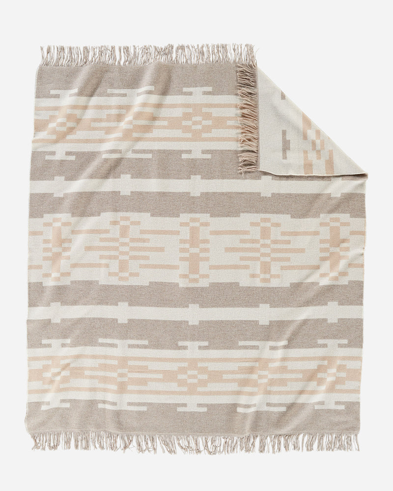 Pendleton Fringed Jacquard Throw - Sandhills Beige