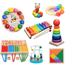 Load image into Gallery viewer, QWZ Montessori Wooden Toys Childhood Learning Toy Children Kids Baby Colorful Wooden Blocks Enlightenment Educational Toy