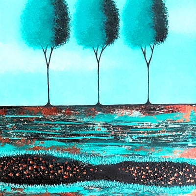 Copper and Teal Tree Diptych