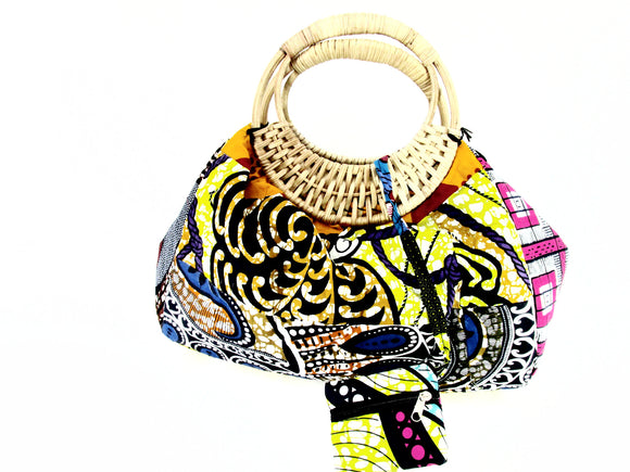 African Fabric Print Ankara Bag with wooden handles