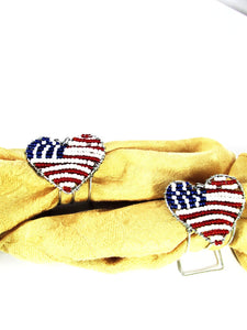 Beaded Serviette Ring Stand - U.S.A Flag Heart