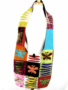 Multi color Hobo bag with butterflies