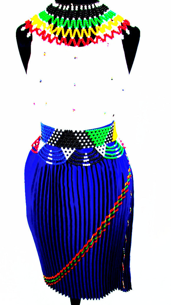South African  Women's Zulu Attire in Royal Blue