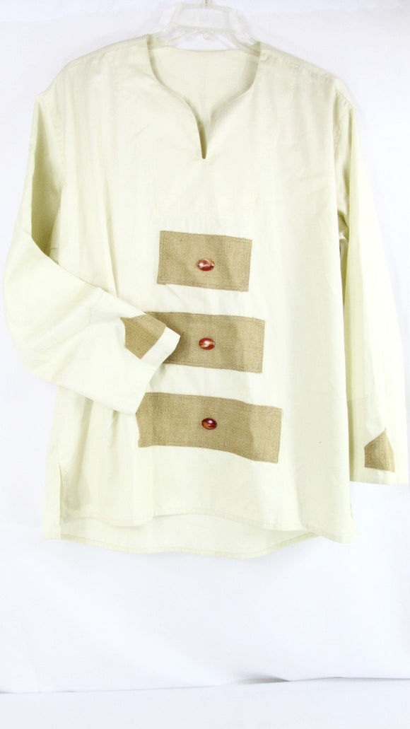 Men's Cream White African Shirt with Burlap - Long Sleeves - One Size