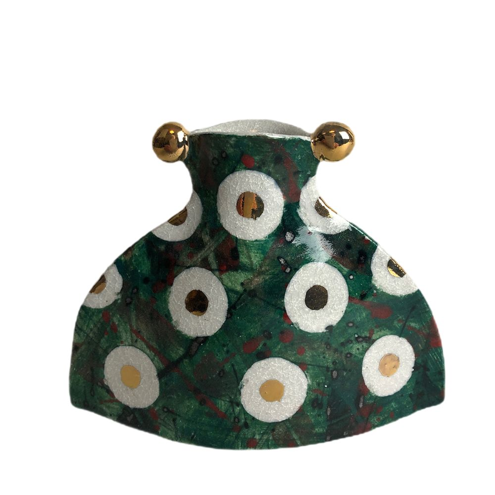 Spotty Bud Vase (Green) by Helen Martino