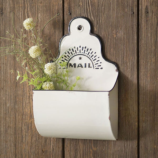 White Mail Hanging Bin, Farmhouse Mail holder