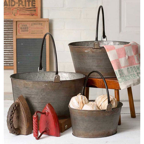 Metal Ridged Buckets