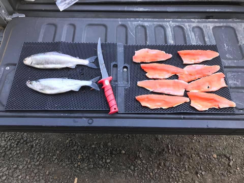 filleting on a truck tailgate