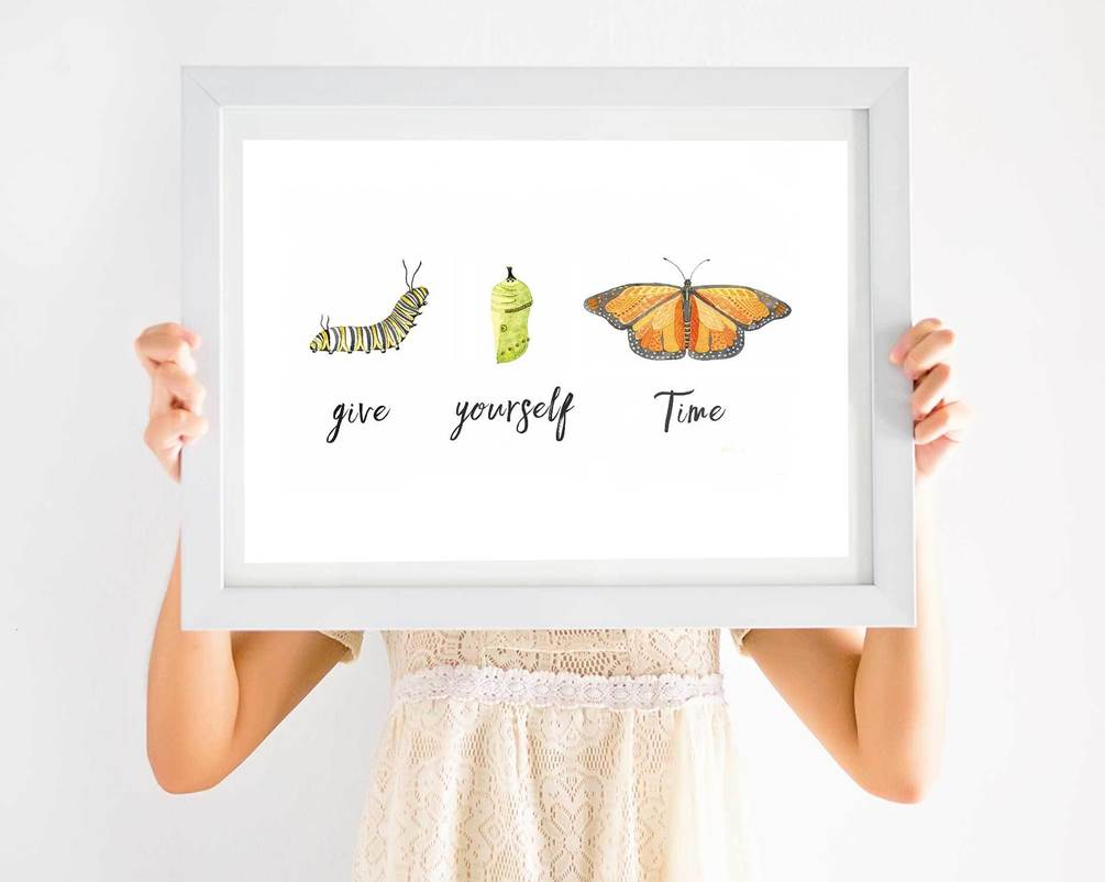 Give yourself time children's nature art work for bedrooms