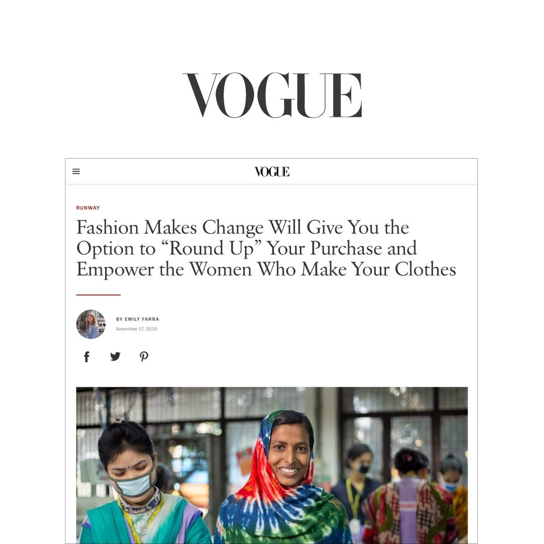 """Fashion Makes Change Will Give You the Option to """"Round Up"""" Your Purchase and Empower the Women Who Make Your Clothes"""