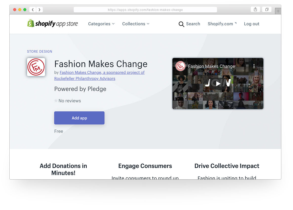 Download our Fashion Makes Change Round Up App at the Shopify app store.