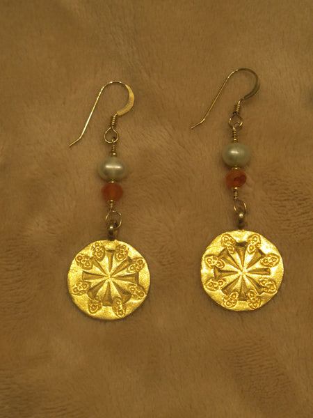 These wheel of life earrings are 24kt gold over sterling