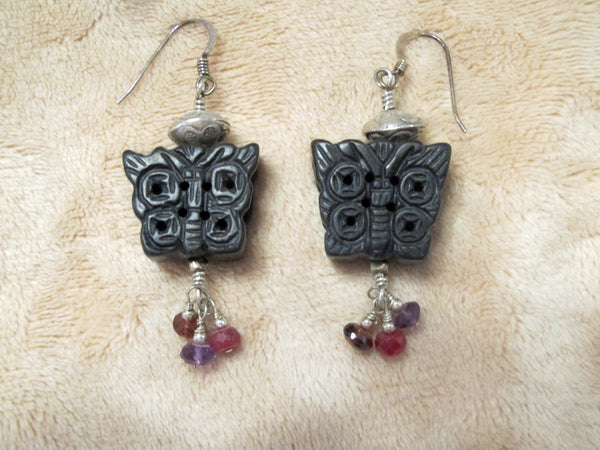 Black onyx butterfly earrings