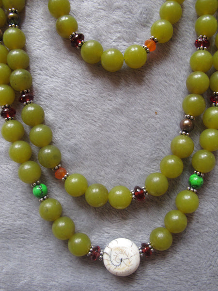 Amber Serpentine Beaded Necklace