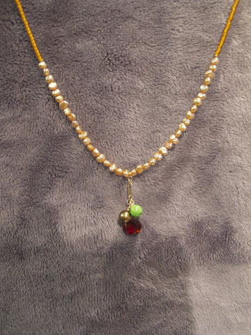 Seed Bead Choker with a pendant of  3 gems