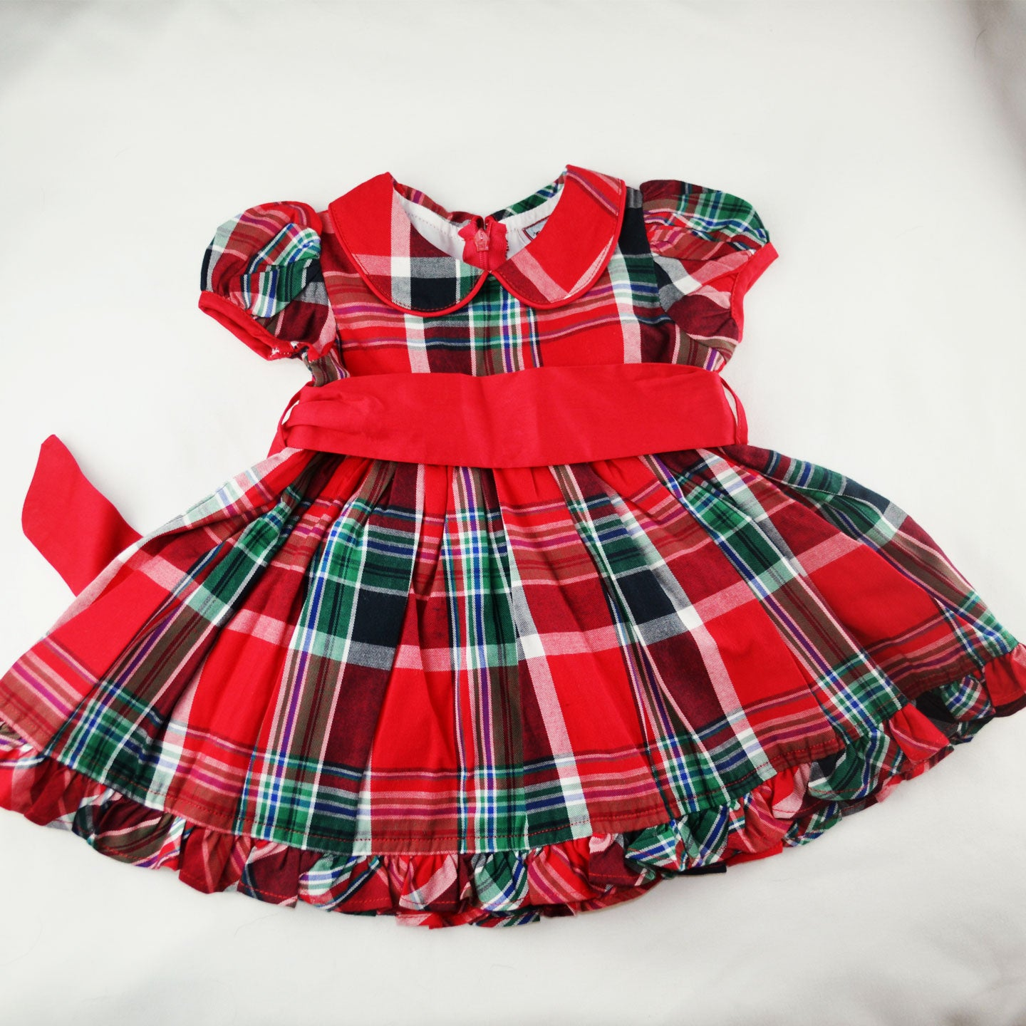 Plaid Holiday Dress with Red Sash
