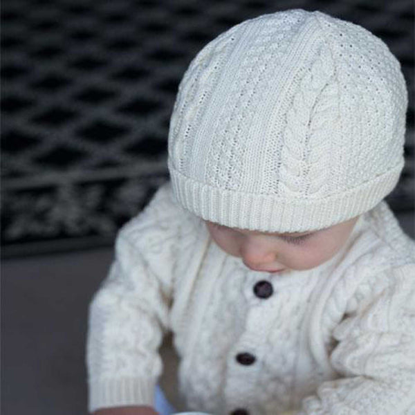 Boy's Classic Aran Knit Hat and Sweater Set