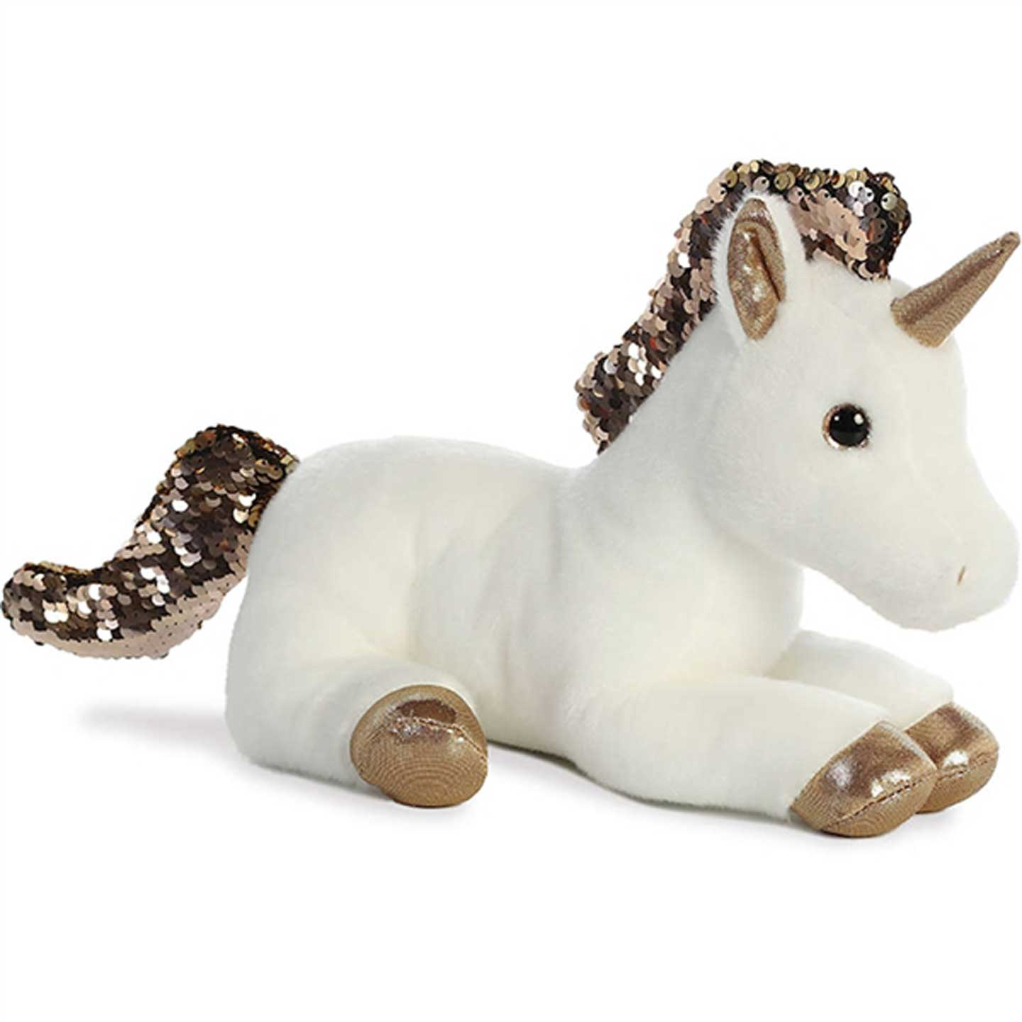 White Plush Unicorn with Reversible Gold Sequins