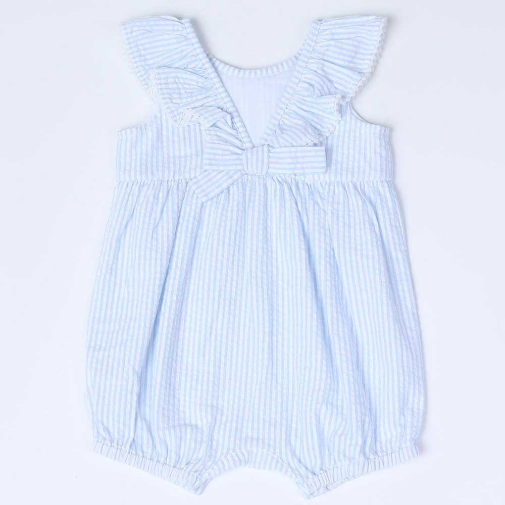 Backbow Ruffle Neck Seersucker Romper