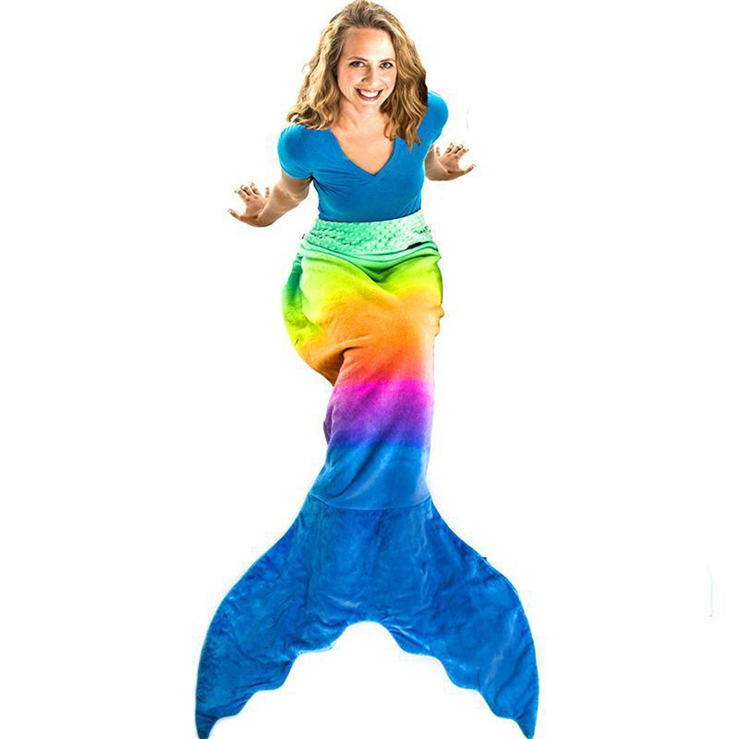 Mermaid Tail Blanket for Adults and Teens -Rainbow Ombre Design