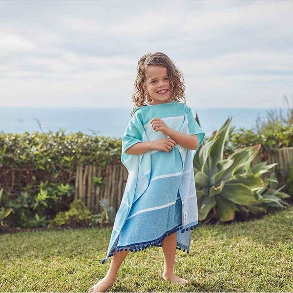 Kids Hooded Blue Fouta Towel